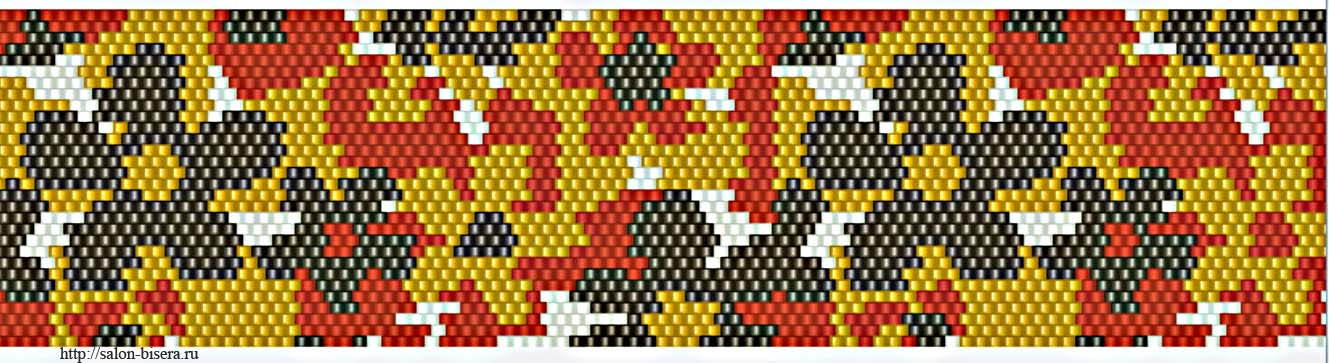 Мозаичное плетение браслета.