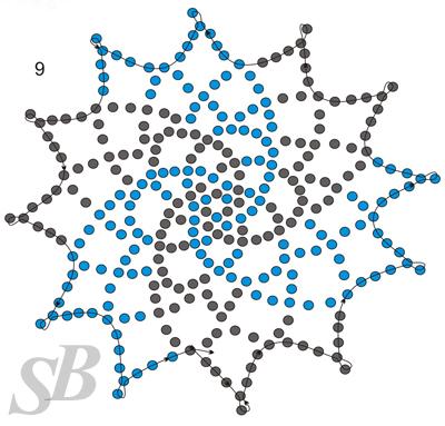 """Салфетка  """"Завихрения """" плетется отдельными элементами, которые по ходу работы присоединяются друг к другу."""